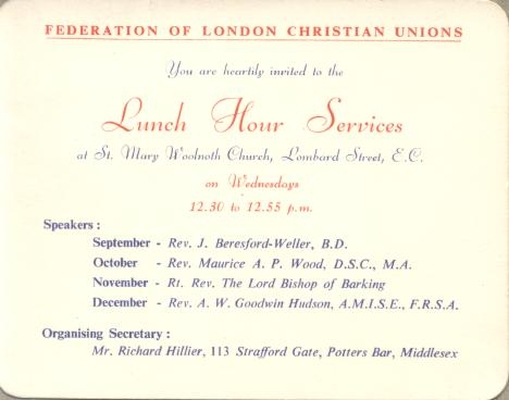 Civil service christian union 1952 to 1967 this invitation card appeared to be the oldest document of the federation of london christian unions in this archive it is prior to 1957 because the stopboris Image collections