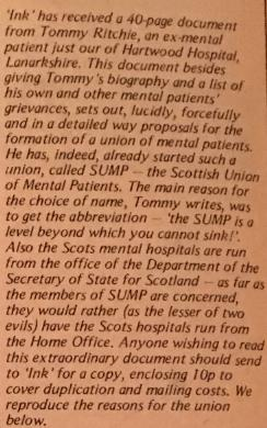 The First Public Annoucement That Thomas Ritchie Had Started A Scottish Union Of Mental Patients Came In UndergrounD Newspaper Ink On 16111971