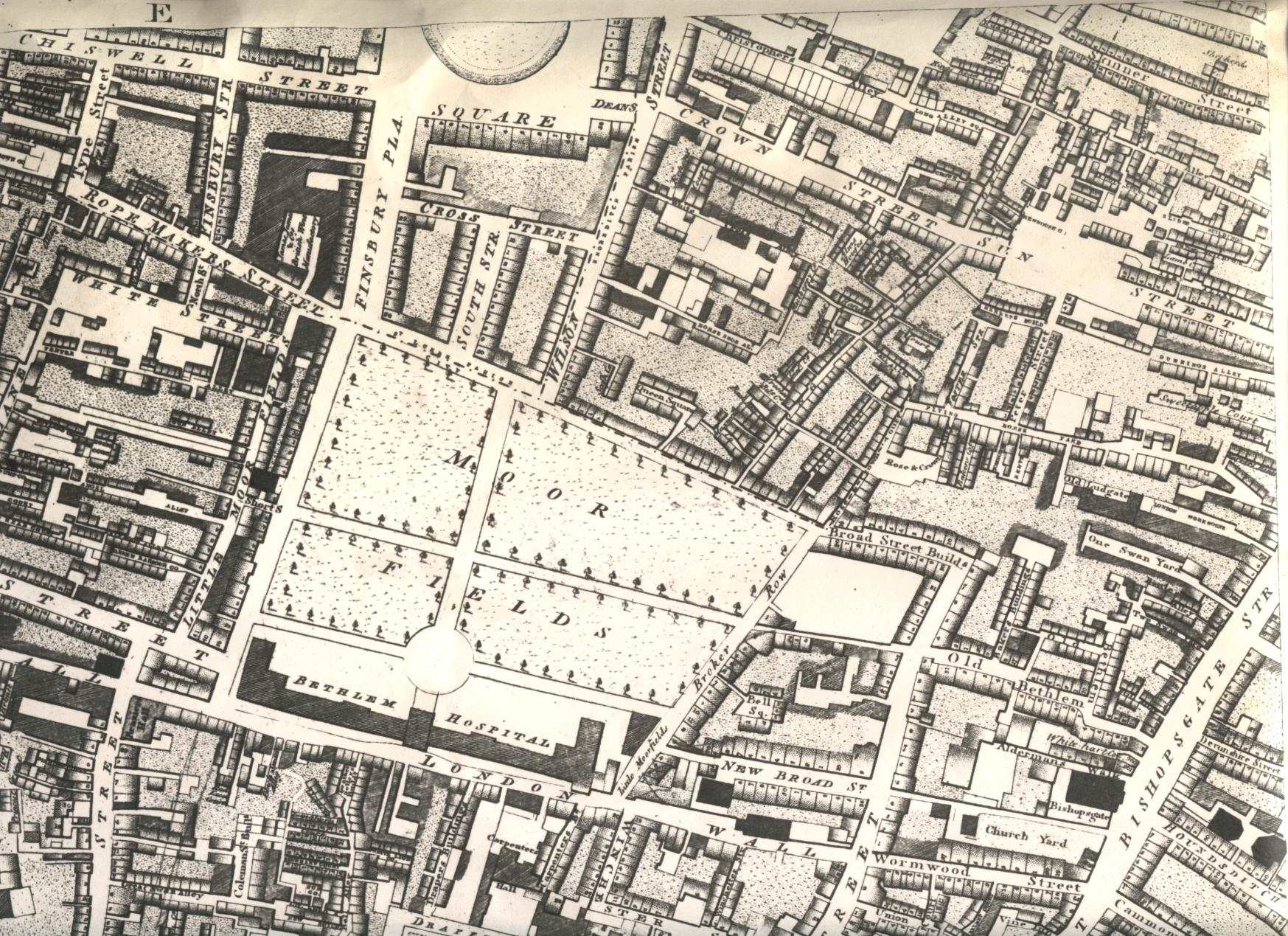 Map showing Bethlem Hospital, Moorfields, in