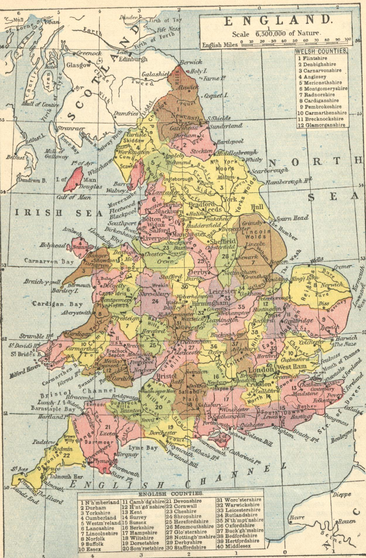 Map of England and Wales, counties, towns and rivers, between 1864