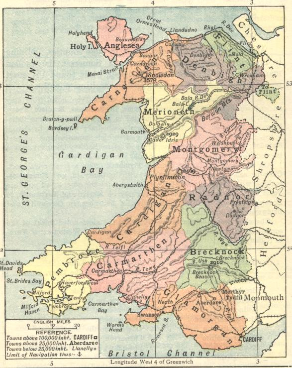 Map of Wales 1929 or earlier