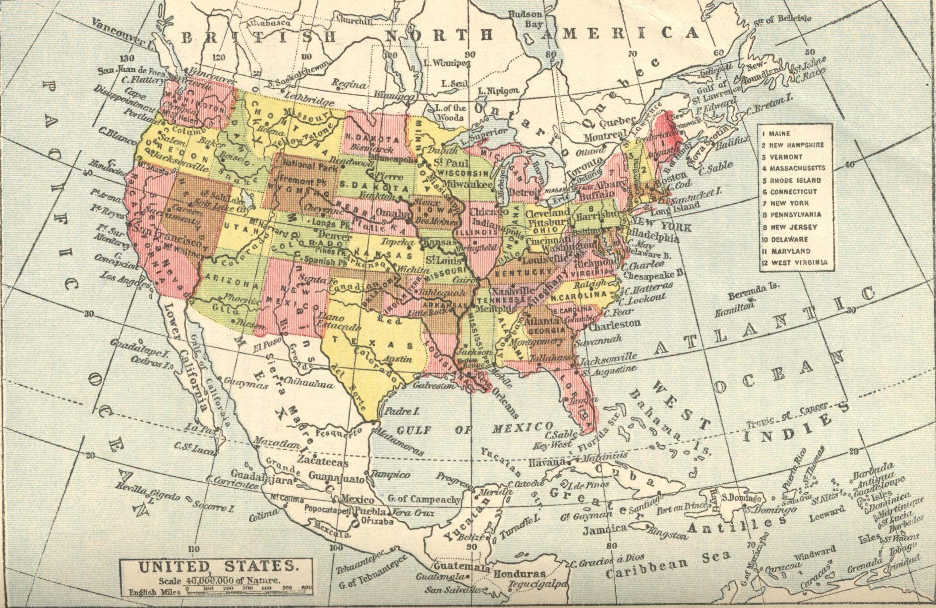 Map Of The United States Of America Also Showing Much Of Canada - Us map showing states